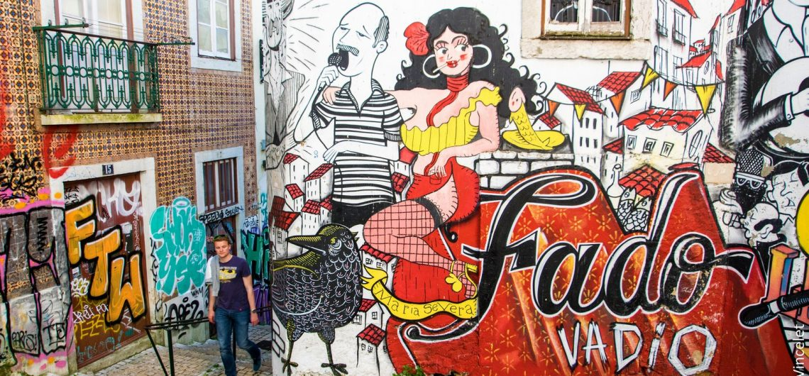 graffiti of fado singer in wall in lisbon