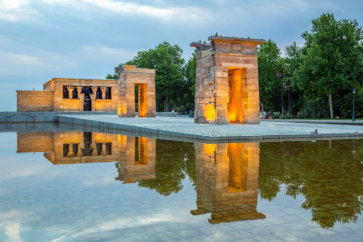 Side view of Madrid's Debod temple at sunset