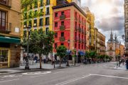 Colourful buildings at Calle Mayor in Madrid