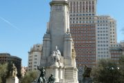 Statue that stands in Plaza de España in Madrid