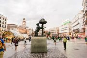 Bear and strawberry tree statue in plaza puerta del sol (Madrid)