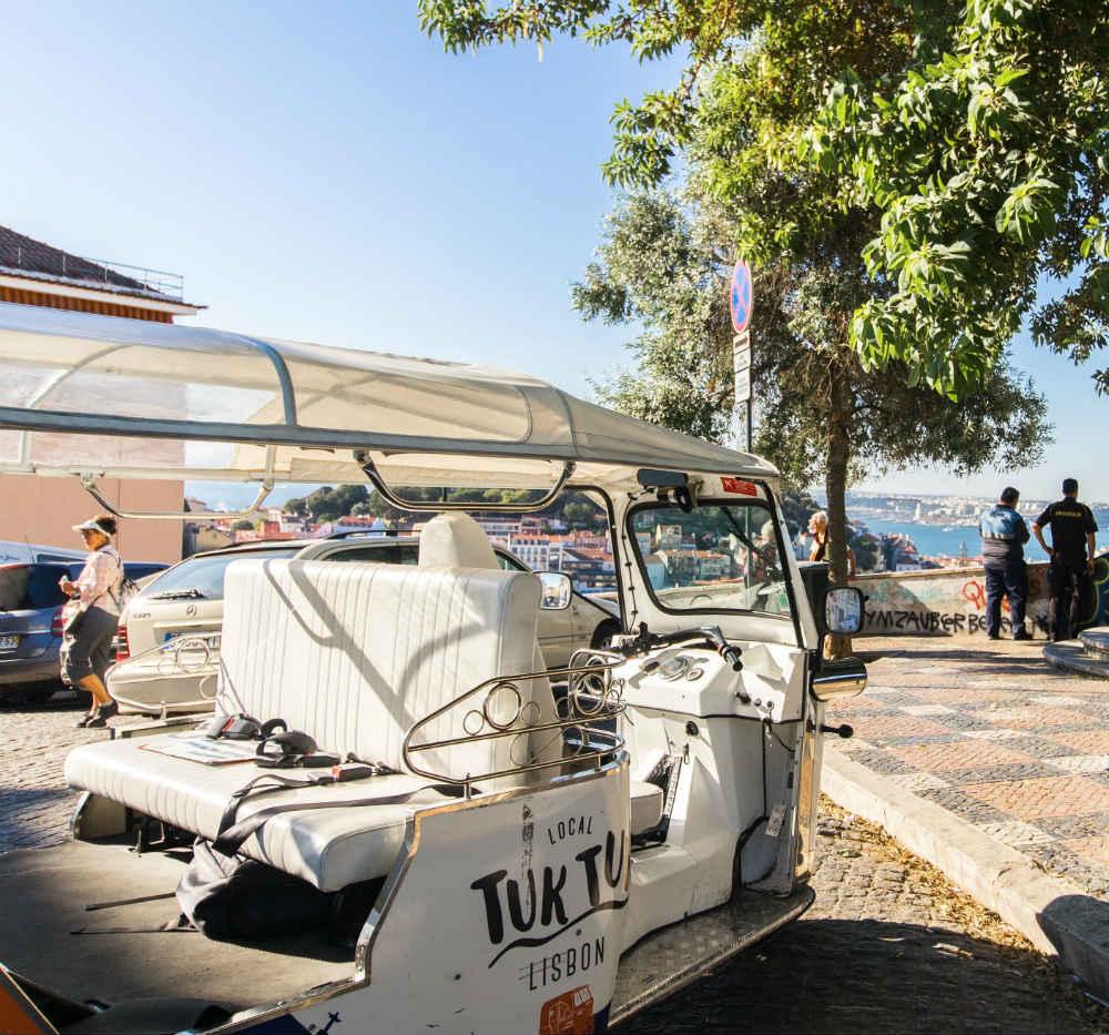 Tuk tuk parked in nossa senhora do monte viewpoint in lisbon